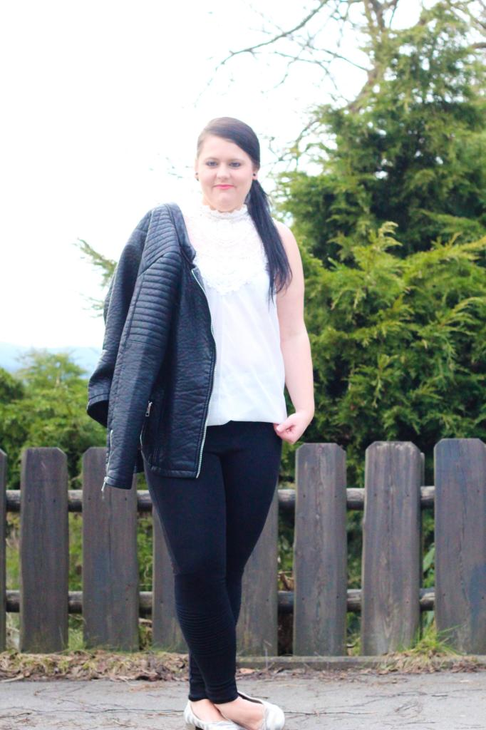 (Outfit) Black Leather meets White Lace