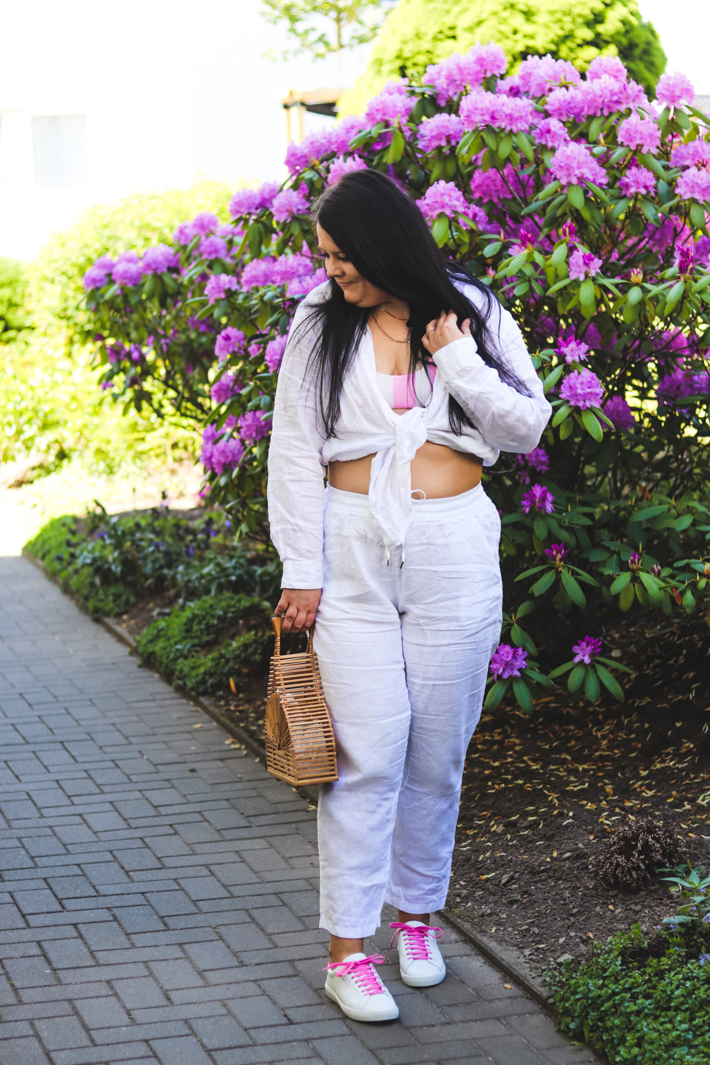 (Outfit) White & Pink mit Leinenhose